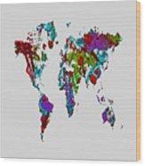World Map 1b Wood Print