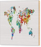 World Map 3b Wood Print