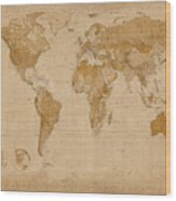 World Map Antique Style Wood Print by Michael Tompsett
