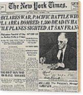 World War II: Headline, 1941 Wood Print