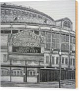 Wrigley Field Wood Print by Juliana Dube