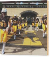 Wyoming Cowboys Entering The Field Wood Print