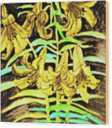 Yellow Lilies, Hand Drawn Painting Wood Print
