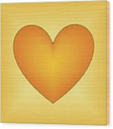 Yellow Love Heart 3 Wood Print