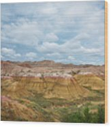 Yellow Mounds Of Badlands Np Wood Print