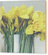 Yellow Narcissuses Bouquet In A Glass Vase Wood Print
