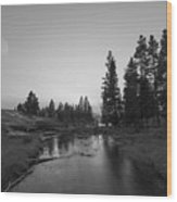 Yellowstone National Park Sunset And Moon Wood Print