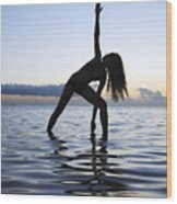 Yoga On The Coastline Wood Print by Brandon Tabiolo - Printscapes