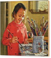 Young Artist Wood Print