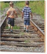 Young Boys On Railway Tracks Wood Print