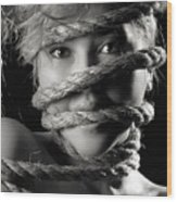 Young Expressive Woman Tied In Ropes Wood Print