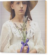 Young Girl With Lavender Wood Print