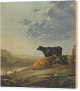 Young Herdsmen With Cows Wood Print