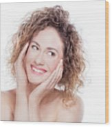 Young Smiling Woman With Curly Hair Portrait On White Wood Print