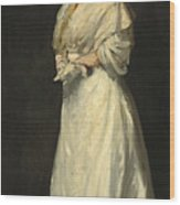 Young Woman In White Wood Print