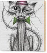 Zippy Cat Wood Print