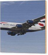 British Airways Airbus A380 Wood Print