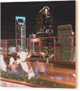Charlotte North Carolina Skyline View At Night From Roof Top Res Wood Print