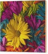 Daisy Petals Abstracts Wood Print