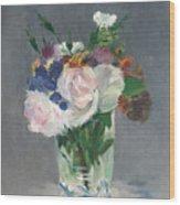 Flowers In A Crystal Vase Wood Print