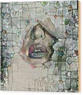 Hidden Face With Lipstick Wood Print