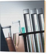 Laboratory Test Tubes In Science Research Lab Wood Print