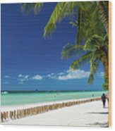 Main Beach Of Tropical Paradise Boracay Island Philippines Wood Print