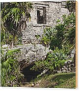 Mayan Temples At Tulum, Mexico Wood Print
