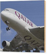 Qatar Airlines Airbus A380 Wood Print