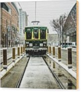 Streetcar Waiting For Passengers In Snowstrom In Uptown Charlott Wood Print