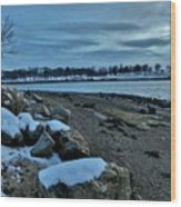 Sunset Over Obear Park In Snow Wood Print