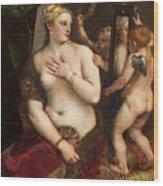 Venus With A Mirror Wood Print