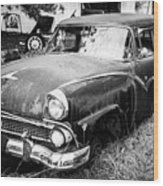 Vintage Autos In Black And White Wood Print