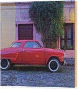 Vintage Car In Colonia Del Sacramento, Uruguay Wood Print
