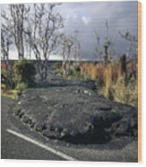 100925 Lava Flow On Road Hi Wood Print