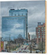 Atlanta Downtown Skyline Scenes In January On Cloudy Day Wood Print