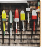 11 Buoys In A Row Wood Print by Thomas Schoeller