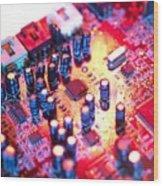 Circuit Board Wood Print by Tek Image
