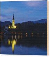 Dusk Over Lake Bled Wood Print