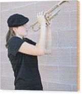 Female Trumpet Player. Wood Print