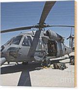 Hh-60g Pave Hawk With Pararescuemen Wood Print