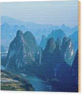 Karst Mountains And Lijiang River Scenery Wood Print