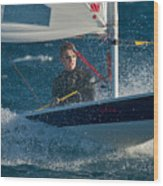 Lake Tahoe Sailboat Racing Wood Print