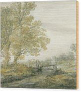 Landscape With Trees Wood Print