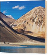 Mountains Pangong Tso Lake Leh Ladakh Jammu And Kashmir India Wood Print