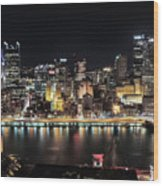 Pittsburgh Skyline At Night Wood Print