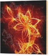 112775 Flowers Fire Wood Print
