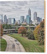 Charlotte City North Carolina Cityscape During Autumn Season Wood Print