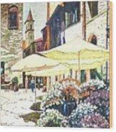 Italian Piazza Wood Print