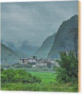 Karst Mountains Rural Scenery Wood Print